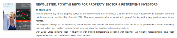 Newsletter: Positive news for property sector and retirement investors