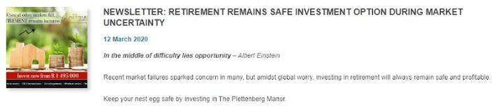Newsletter: Retirement remains safe investment option during market uncertainty