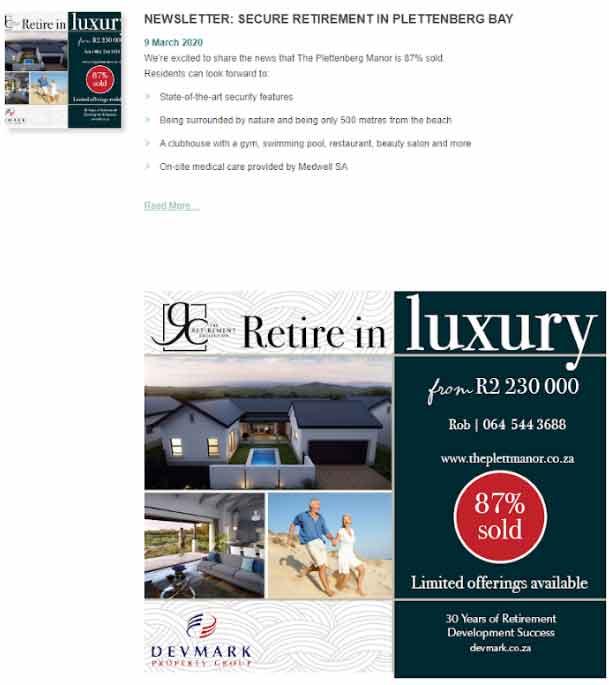 Newsletter: Secure retirement in Plettenberg Bay
